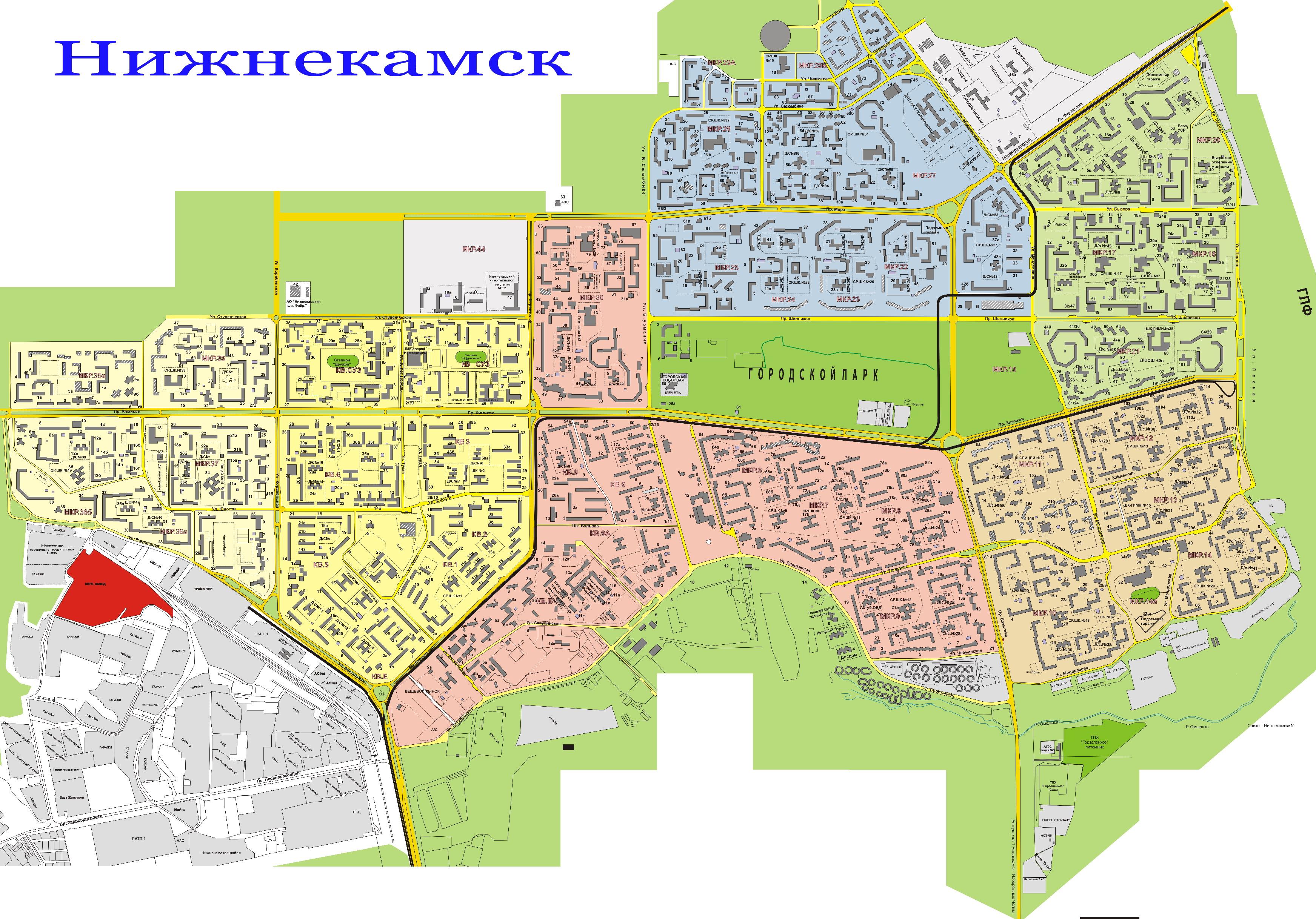 Карта Нижнекамска с улицами на спутниковой карте