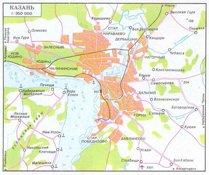 Подробная карта Казани